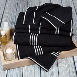 Lavish Home Rio 8 Piece 100% Cotton Towel Set - Black