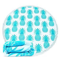 Round Beach Towel Microfiber,AMESSE Pineapple Large Roundie