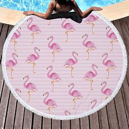 Utopone Large Round Beach Towels Microfiber Flamingos with T