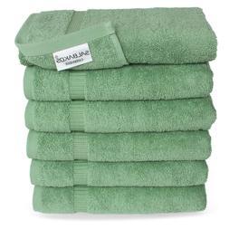 SALBAKOS Hand Towels for Bathroom, White Cotton, 6 Bulk Pack