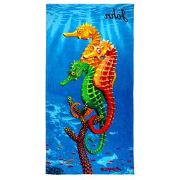 Kaufman-Personalized Beach Towel Kids Sea Horses  Pool Towel