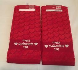 Set of 2 RED Valentine Heart Pattern Bath Towels or Kitchen