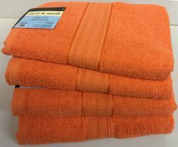 """Set of 4, 100% Cotton Bath Towels, Large 27"""" x 54"""" Size, Ora"""