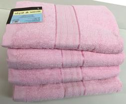 "Set of 4, 100% Cotton Bath Towels, Large 27"" x 54"" Size, Pin"