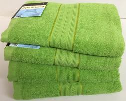 """Set of 4, 100% Cotton Bath Towels, Large 27"""" x 54"""" Size, Lim"""