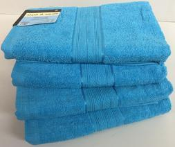 "Set of 4, 100% Cotton Bath Towels, Large 27"" x 54"" Size, Tur"