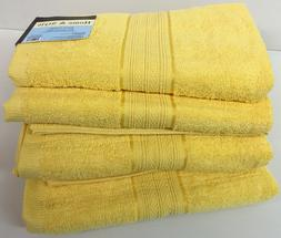 "Set of 4, 100% Cotton Bath Towels, Large 27"" x 54"" Size, Bri"