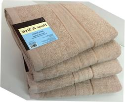 "Set of 4, 100% Cotton Bath Towels, Large 27"" x 54"" Size, Tau"