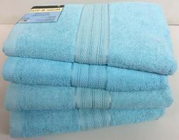 "Set of 4, 100% Cotton Bath Towels, Large 27"" x 54"" Size, Aqu"