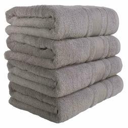 Set of 4 100% Turkish Cotton Bath Towels, Silver Grey, New