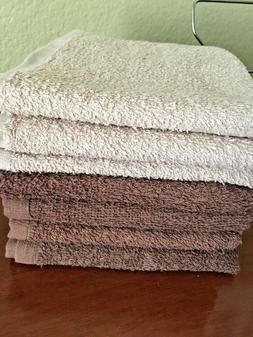 Set of 7 Mainstays bath hand towels cotton brown/beige basic