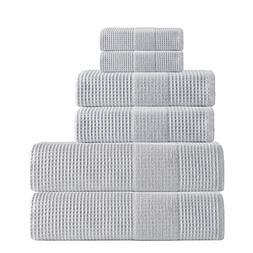 6 Piece Silver Geometric Solid Color Waffle Design Towel Set