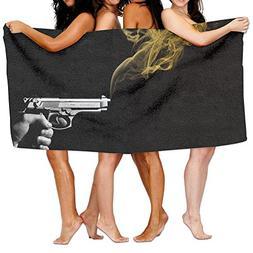 Unisex Smoking Gun Beach Towels Washcloths Bath Towels For T