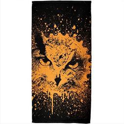 Splatter Owl All Over Plush Beach Towel