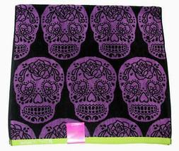 Betsey Johnson Black HAUNTED FESTIVAL Sugar Skulls Decorative Bath Towel NWT