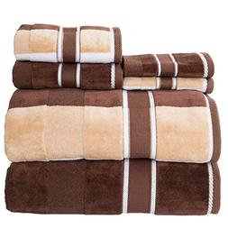 Tan and Brown 6 Pc Velour Towel Set 100 % Percent Cotton Han