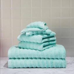 Mainstays Textured set soft cotton 2 bath Towel 2 washcloth