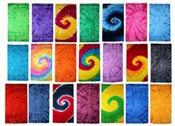 Tie Dye Beach Towels, Red, Purple, Navy, Multi-Color, 100% C