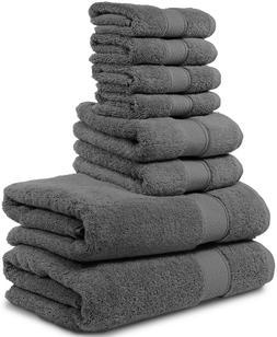 Towel Set 8 Piece - 2 Large Cotton Bath Towel 2 Hand Towel 4