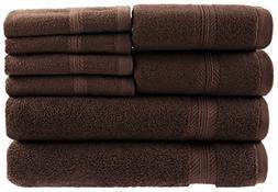 8 Piece Towel Set, 100% Ring Spun Genuine Cotton, Absorbency