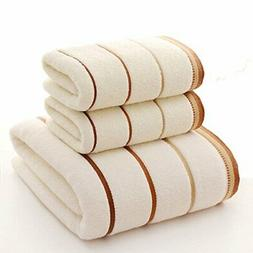Premium Towel Set 100% Cotton Striped Bath Towels Hand Towel