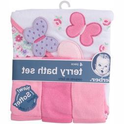 Gerber Newborn Baby Girl Towel and Washcloths Bath Gift Set,