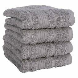 Qute Home Towels 100% Turkish Cotton Gray Hand Towels Set  S