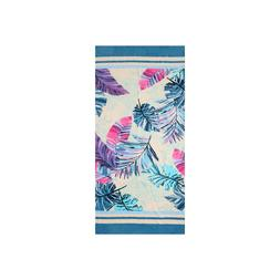 Turquoise Leaves %100 Cotton Beach Towel Bath Towel by Hence