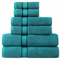 COTTON CRAFT Ultra Soft 6 Piece Towel Set Teal, Luxurious 10
