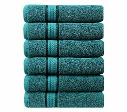 Cotton Craft Ultra Soft 6 Pack Hand Towels 16x28 Teal Weighs