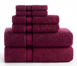 Cotton Craft Ultra Soft 6 Piece Towel Set Burgundy, Luxuriou