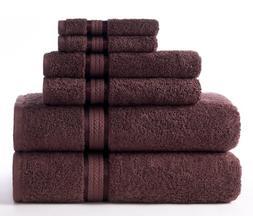 Cotton Craft Ultra Soft 6 Piece Towel Set Chocolate, Luxurio
