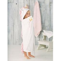 Mud Pie Baby Girls Unicorn Hooded Bath Towel, White, One Siz