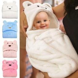 US Newborn Baby Bath Towel Sleeping Blanket Infant Hooded Wr