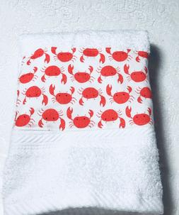 Very crabby white  hand towel - Kitchen Bath home decor