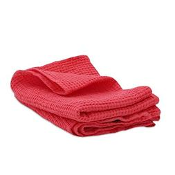 "LinenMe Washed Waffle Big Bath Towel, 20 x 28"", Coral"