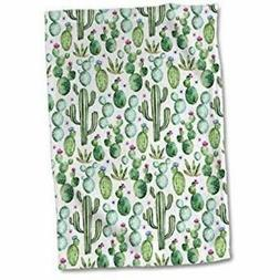 3dRose Watercolor Cactus Pattern Towel, 15 x 22,