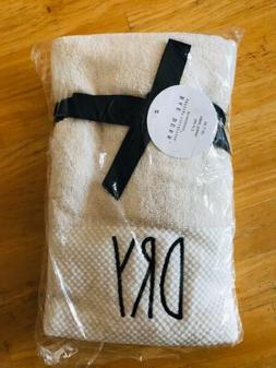 Rae Dunn White DRY Hand Towels Set Of 2 NEW Cotton Fast Ship