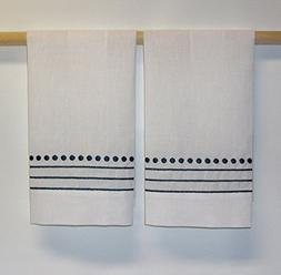 Saro White Embroidered Hand Towels with Navy Blue Dotted and