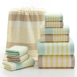 US Stock Cotton Striped Towels Soft Absorbent Bath Sheet Han