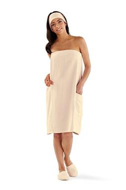 Boca Terry Women's Spa Wrap - 100% Cotton ECRU Spa, Shower a