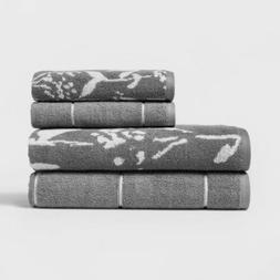 Woven Pattern Bath Towel Set - Light Gray - Assorted Size -