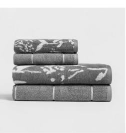 Woven Pattern Bath Towel Set Light Gray - Project 62™ Plus